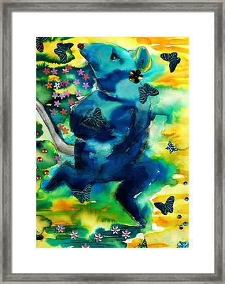 Little Gnaw Skank 5 - Butterflies Framed Print by Geckojoy Gecko Books