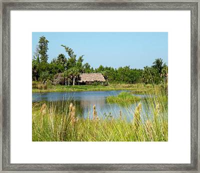 Little Grass Shack Painted Framed Print by Rosalie Scanlon