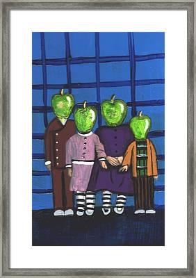 Little Green Apple Head Kids Framed Print
