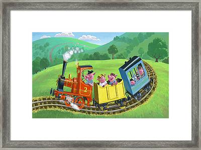 Little Happy Pigs On Train Journey Framed Print