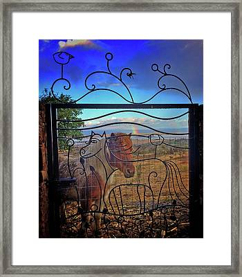Framed Print featuring the painting Little Horse Little Rainbow by Marti McGinnis