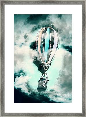 Little Hot Air Balloon Pendant And Clouds Framed Print by Jorgo Photography - Wall Art Gallery