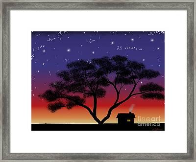 Little House At Sunset Framed Print