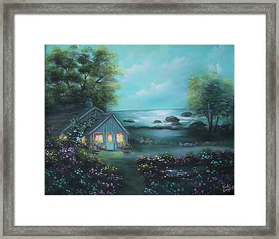 Little House By The Sea Framed Print