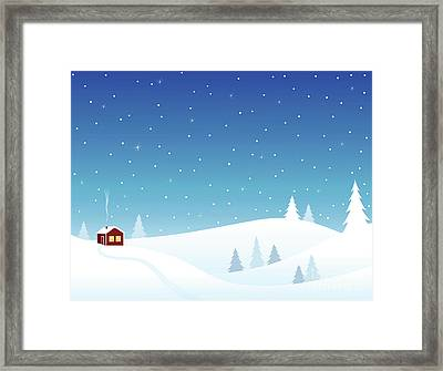 Little House In Snowy Hills Framed Print