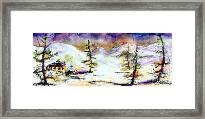 Little House In The Mountains Framed Print by Ginette Callaway
