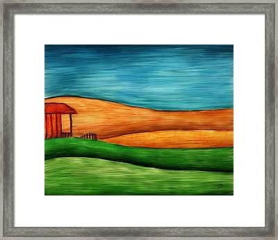 Little House On Hill Framed Print