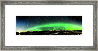Little House Under The Aurora Framed Print