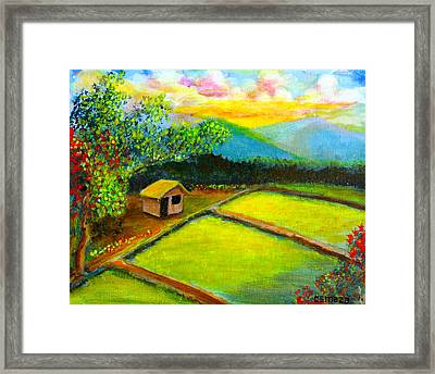 Little Hut In The Farm Framed Print by Cyril Maza