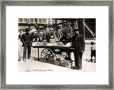 Little Italy - Street Vendor With Wares Framed Print