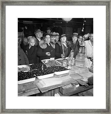 Little Italy - Vendor With Wares Framed Print by Everett