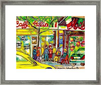Little Italy Watercolor Streetscene Paintings Caffe Italia And Milano Deli Carole Spandau          Framed Print
