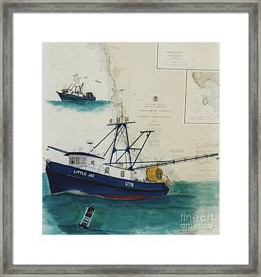 Little Joe And Aloma Fishing Boats Nautical Chart Map Framed Print by Cathy Peek