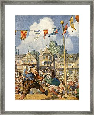 Little John Defeats Eric Of Lincoln Framed Print by Newell Convers Wyeth