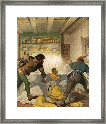 Little John Fights With The Cook In The Sheriff's House Framed Print by Newell Convers Wyeth