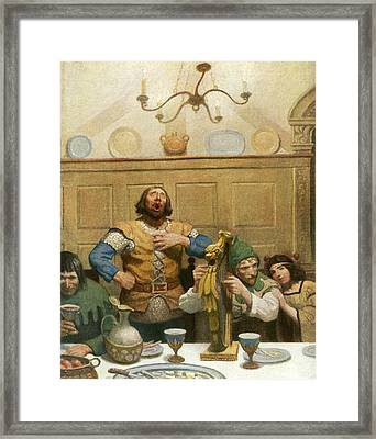 Little John Sings At The Banquet Framed Print by Newell Convers Wyeth