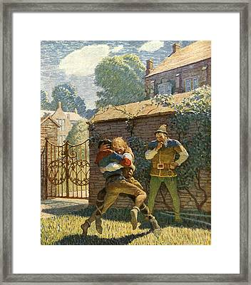 Little John Wrestles At Gamewell Framed Print by Newell Convers Wyeth