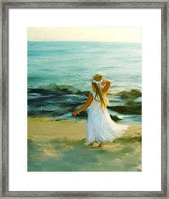 Little Lady At The Beach Framed Print