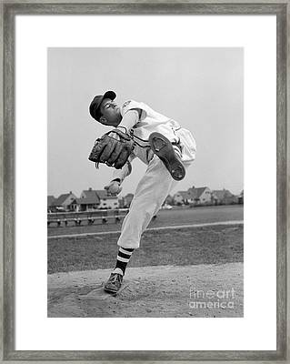 Little League Pitcher, 1950s Framed Print by Debrocke/ClassicStock
