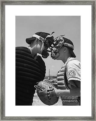 Little League Umpire And Catcher Framed Print