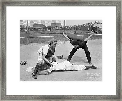 Little League Umpire Calling Safe Framed Print