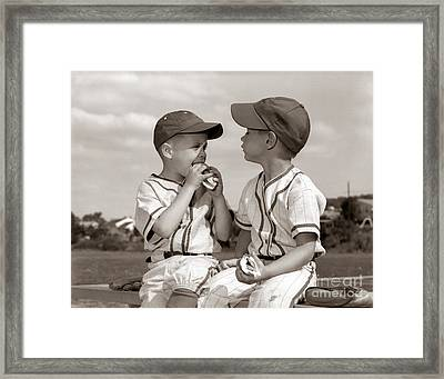 Little Leaguers Eating Hot Dogs, C.1960s Framed Print by H. Armstrong Roberts/ClassicStock