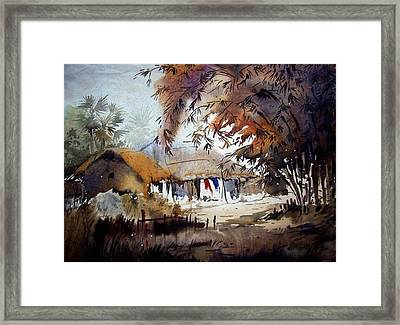 Little Light At The Village Framed Print by Samiran Sarkar
