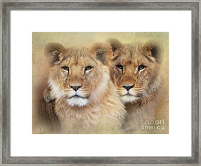 Framed Print featuring the digital art Little Lions by Trudi Simmonds
