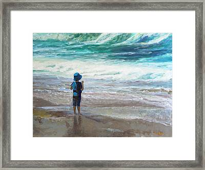 Little Man, Big Waves Framed Print