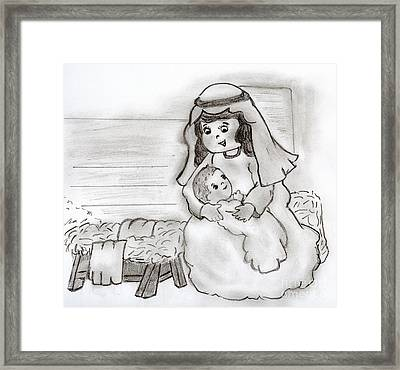 Little Mary And Baby Jesus Framed Print by Sonya Chalmers