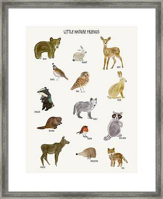 Framed Print featuring the painting Little Nature Friends by Bri B