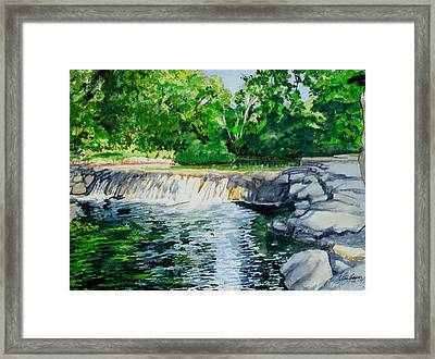 Little Niagra Falls On Travertine Creek Chickasaw National Recreation Area Sulphur Oklahoma Framed Print by Wes Loper