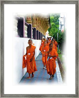Little Novice Monks 2 Framed Print