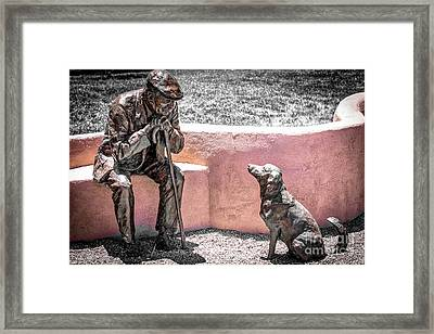 Little Old Man And Dog Statue Framed Print