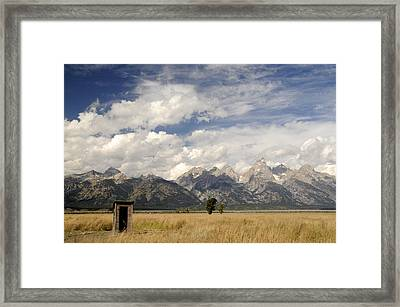 Little Outhouse On The Prairie Framed Print by Geraldine Alexander