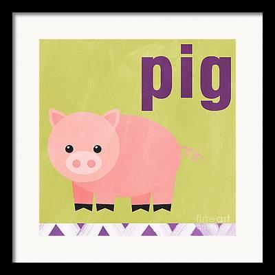 Pigs Mixed Media Framed Prints