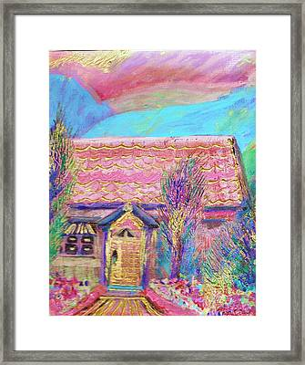 Little Pink House Framed Print by Anne-Elizabeth Whiteway