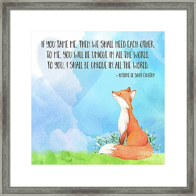 Little Prince Fox Quote, Text Art Framed Print