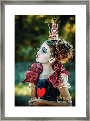Framed Print featuring the photograph Little Princess Of Hearts Alice In Wonderland by Dimitar Hristov