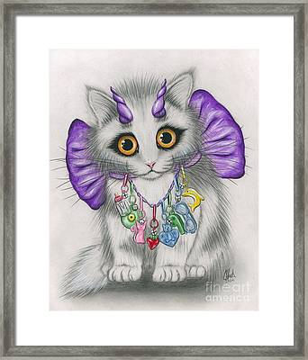 Framed Print featuring the mixed media Little Purple Horns - 1980s Cute Devil Kitten by Carrie Hawks