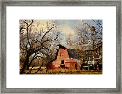 Little Red Barn Framed Print by Lana Trussell