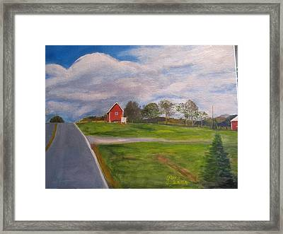 Little Red Barn On Detrick Rd Framed Print by Gloria Condon