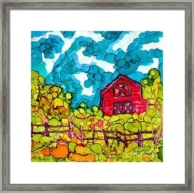 Little Red Barn Framed Print by Stephanie  Skeem