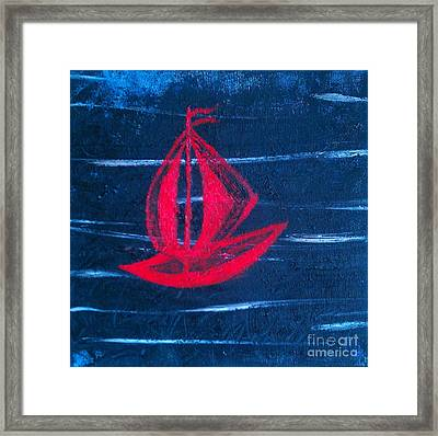 Framed Print featuring the painting Little Red Boat  by Jacqueline McReynolds