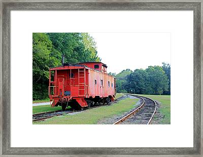 Little Red Caboose Enhanced Framed Print by Suzanne Gaff