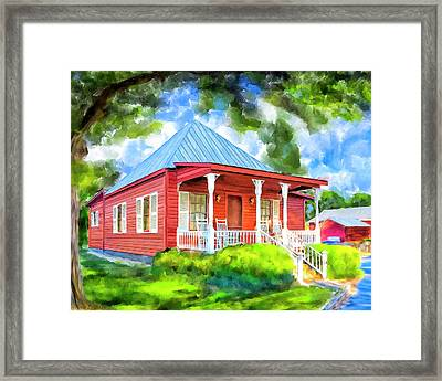 Framed Print featuring the mixed media Little Red Cottage by Mark Tisdale