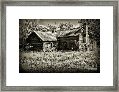 Framed Print featuring the photograph Little Red Farmhouse In Black And White by Paul Ward
