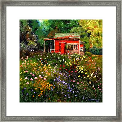 Little Red Flower Shed Framed Print by John Lautermilch