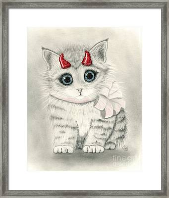 Framed Print featuring the drawing Little Red Horns - Cute Devil Kitten by Carrie Hawks
