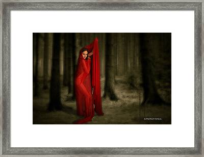 Little Red In Woods Framed Print by Thomas Churchwell